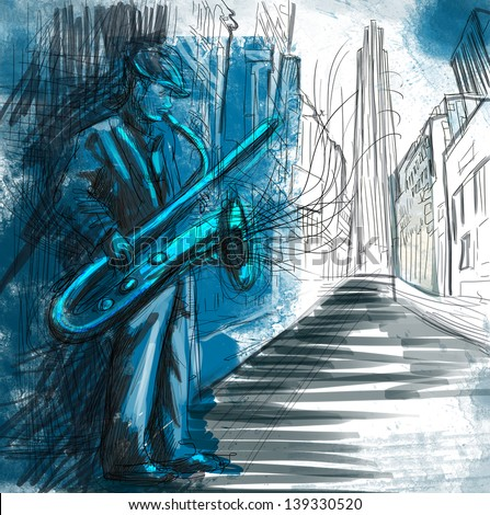 Saxophone player  - A hand drawn illustration of an musician playing saxophone on the night street - Full sized hand drawing (original). - stock photo