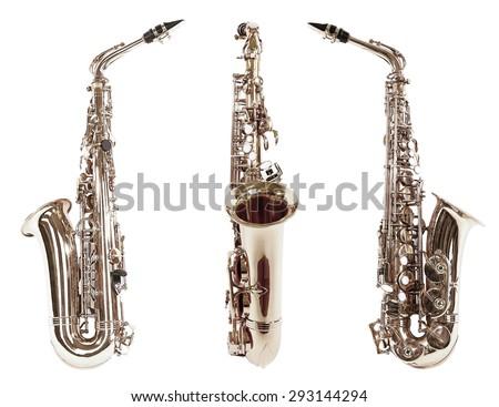 Saxophones isolated on white - stock photo