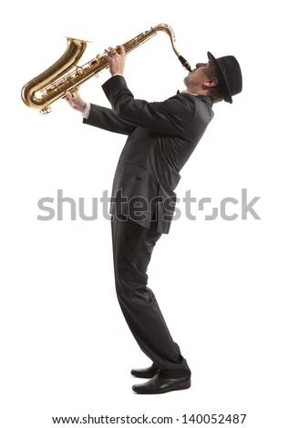 Saxophonist. Middle aged man playing on saxophone isolated on background