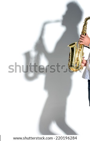 Saxophonist silhouette shadow people. Isolated on white background - stock photo