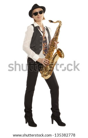 Saxophonist. Woman playing on saxophone isolated on background - stock photo