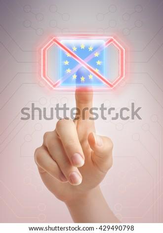 Saying no to EU - stock photo