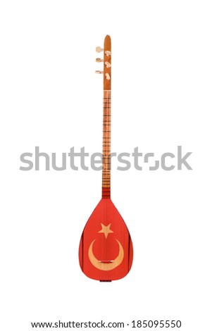 Saz Traditional Turkish Music Instrument with Turkish Flag Isolated on a White Background - stock photo