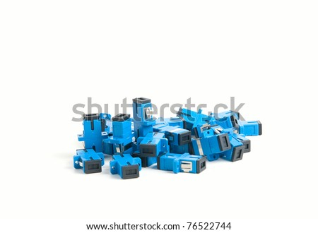 SC sockets for optical cross. Fiber-optic connectors - stock photo