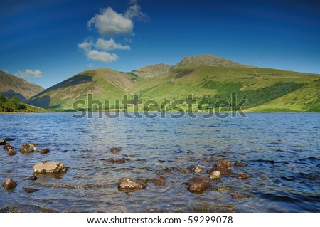 Scafell and Scafell Pike over Wastwater in the English Lake District - stock photo