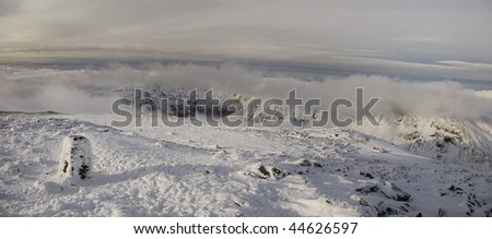 Scafell Pike summit in winter - stock photo