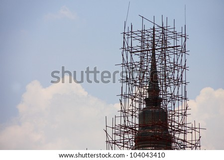 scaffold on pagoda, that renovation, Thailand