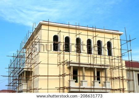 Scaffolding and construction engineering, closeup of photo