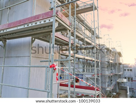 scaffolding construction on building site