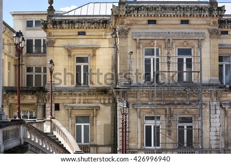 Scaffolding for the Bains of Spa building. Bains of Spa, a historic spa building on Place Royal square in town of Spa in the Liège province, Belgium.