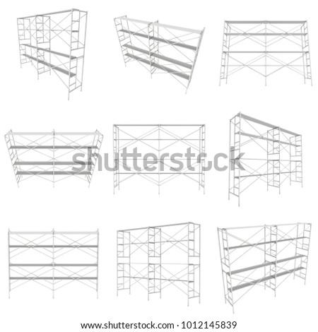 Scaffolding Metal Construction Set Isolated On Stock Illustration 1012145839 Shutterstock