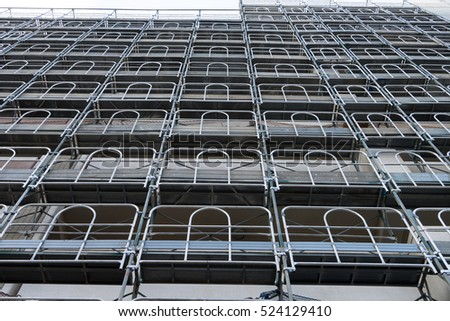 Scaffolding of an apartment during repair construction.