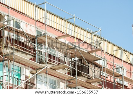 Scaffolding on apartment building