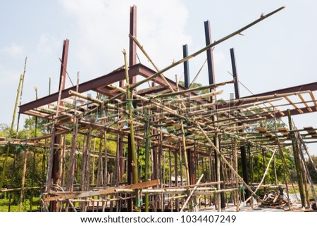 Scaffolding Wood Small Building Construction Stock Photo Royalty