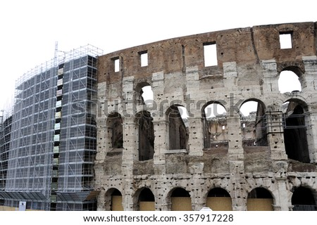 Scaffolds at the Coliseum in Rome, Italy - stock photo