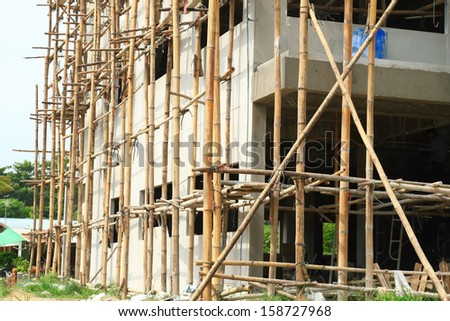 scaffolds in construction site at Thailand,scaffold make form bamboo
