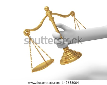 scale/A 3d hand taking a scale/ justice/law - stock photo