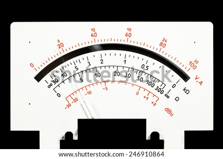 scale analog multimeter on a black background - stock photo
