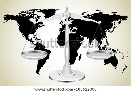 Scale and world map - stock photo