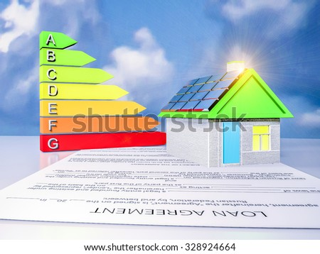 scale energy efficiency with a house and the loan agreement with solar panels on the roof  - stock photo