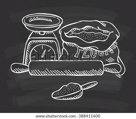 scale, flour and rolling pin doodle on chalkboard background - stock photo