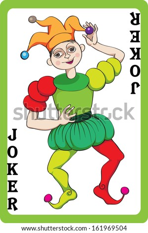 Scale hand drawn illustration of a playing card representing the joker, one element of a pack - stock photo