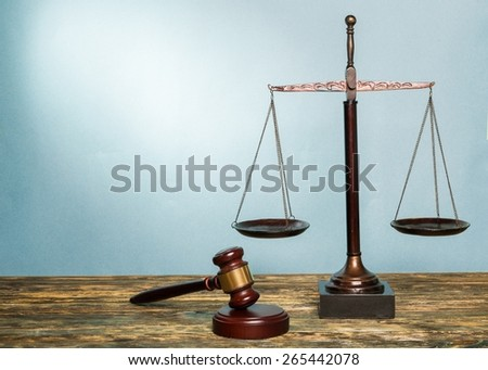 Scale, lawyer, law. - stock photo