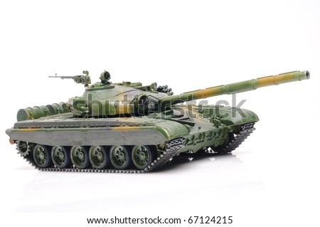 Scale model of russian tank - stock photo