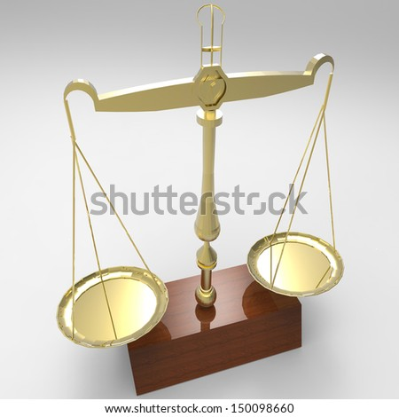 Scale of justice - isolated on white background - stock photo