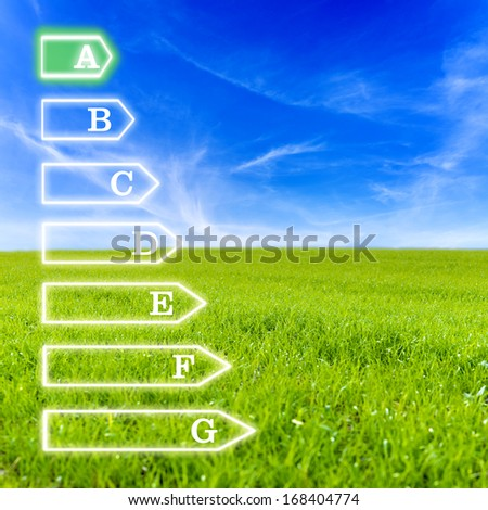 Scale of seven levels of energetic efficiency on virtual screen with beautiful green meadow and blue sky for background. Emphasis on a level of efficiency. - stock photo