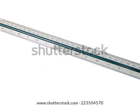 Scale ruler white background - stock photo