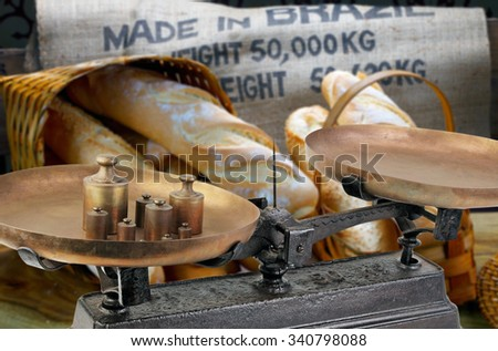 scale to weigh the bread  - stock photo