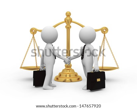 scale/Two businessmen shaking their hands, a scale background - stock photo