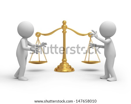 scale/Two 3d people talking, a scale background - stock photo