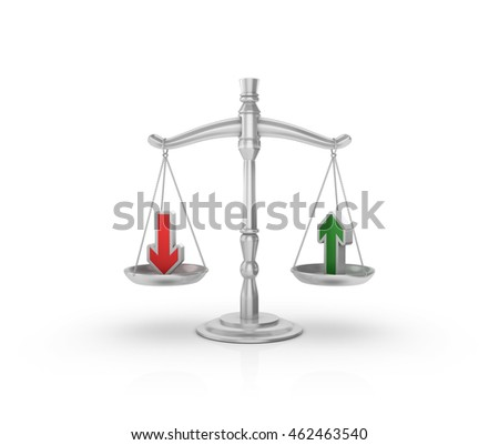 Scale with Arrows on White Background - High Quality 3D Rendering / Illustration