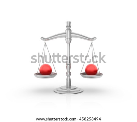 Scale with Spheres on White Background - High Quality 3D Rendering / Illustration