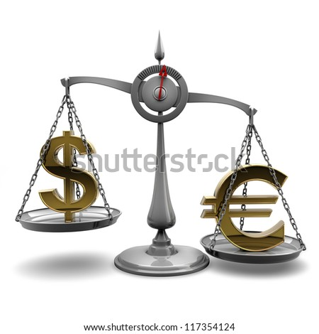 Scale with symbols of currencies Euro vs US dollar isolated on white background High resolution 3d render - stock photo