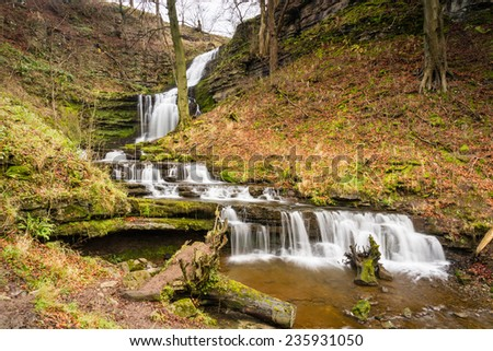 Scaleber Force Waterfall / Scaleber Force or Foss waterfall near Settle in the Yorkshire Dales National Park - stock photo