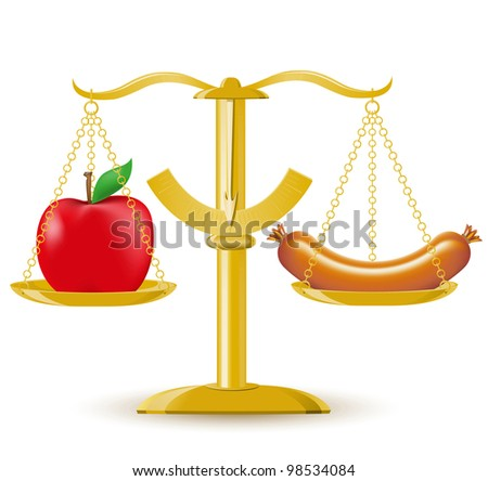 scales choice diet or obesity illustration - stock photo