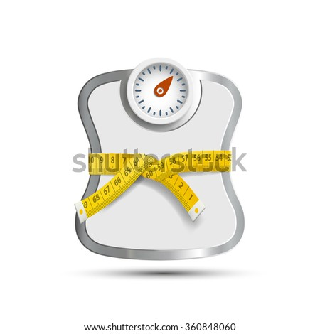 Scales for weighing. Measuring tape. Stock illustration. - stock photo