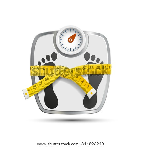 Scales for weighing with the measuring tape. Stock image. - stock photo