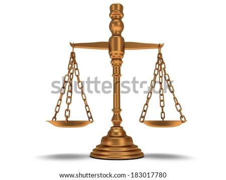 Scales justice on white. Judge, Law, Auction, Medicine concept. 3d Render. Isolated white background. - stock photo