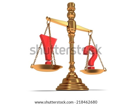 Scales justice with exclamation and question marks on white. Judge Law Auction Medicine concept. 3d Render Isolated white background. - stock photo