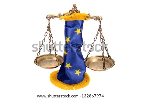 Scales of Justice and European union flag  on the white background, EU law concept - stock photo