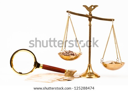 scales of justice and money isolated on white - stock photo