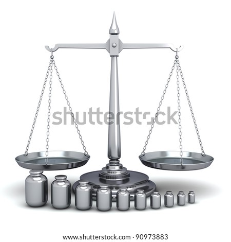 Scales of Justice and Weights on white