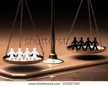 Scales of justice equaling races without prejudice or racism. Clipping path included. - stock photo