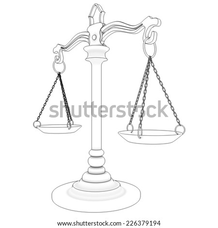 scales of justice. isolated on white background. 3d