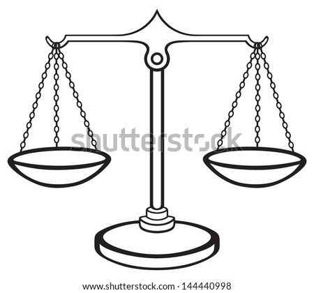 Scales of Justice isolated on white background. Raster version