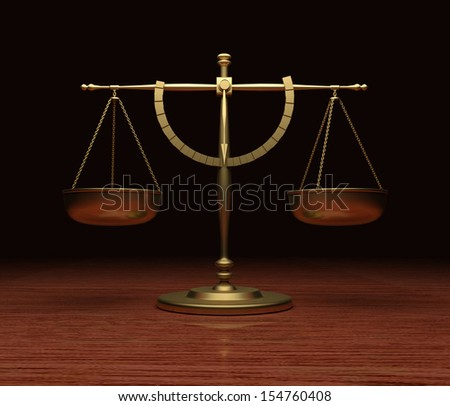 Scales of Justice on wood table V5 - stock photo